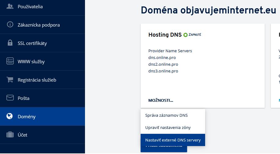 Ako delegovať doménu z IONOS na iné DNS servery?