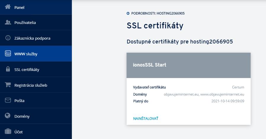 Ako nainštalovať SSL certifikát na hostingu v IONOS?
