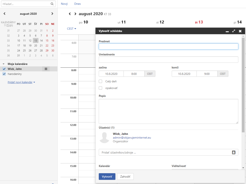 Spravovanie a konfigurácia Kalendára v Pošte IONOS