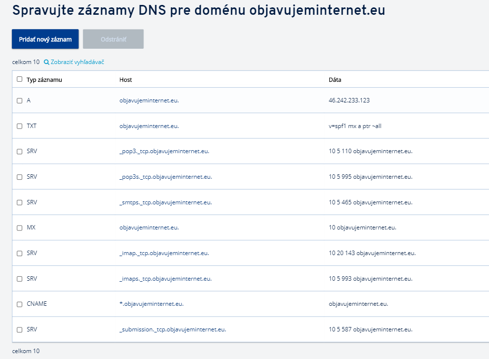 Záznamy domény – opis, dodávanie, editovanie