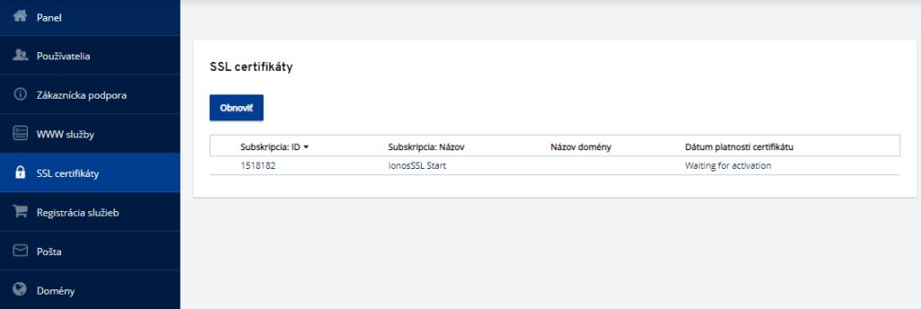 Ako potvrdiť objednávku SSL certifikátu v IONOS?